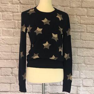 Equipment cashmere sweater, navy/tan stars, XS